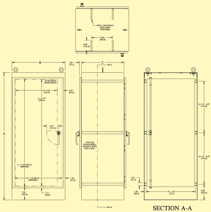 NEMA Type 12, 3R & 4 Free-Standing, Single-Door Dual-Access ... Outdoor Electrical Sub Panel on